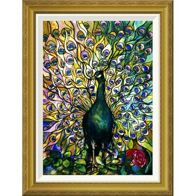 "'Fine Peacock' by Tiffany Studios Framed Graphic Art Size: 28"" H x 21.66"" W x 1.5"" D GCF-265612-22-209"