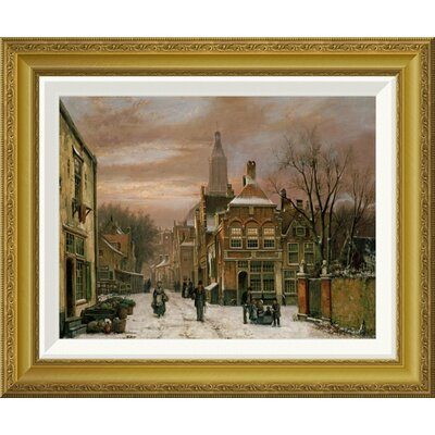 'A Wintery Scene' by Willem Koekkoek Framed Painting Print Size: 18.29