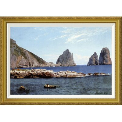 'Rowing Off The Rocks' by Albert Bierstadt Framed Painting Print Size: 26.22