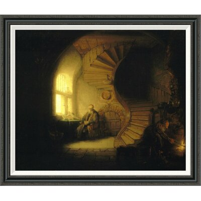 "'Philosopher in Meditation' by Rembrandt Van Rijn Framed Painting Print Size: 35.7"" H x 42"" W"