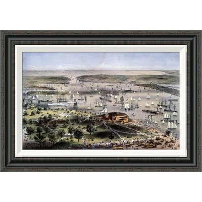 'Port of New York Bird's Eye View From the Battery, Looking South' by Currier and Ives Framed Painting Print Size: 24.6