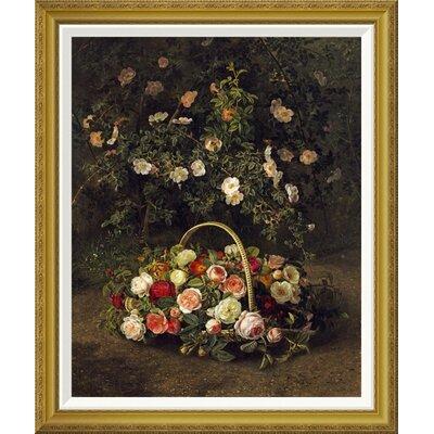 'Roses In a Basket Beside a Rose Bush' by Johan Laurents Jensen Framed Painting Print Size: 36