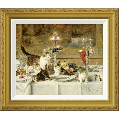 'After Dinner' by Louis Eugene Lambert Framed Painting Print Size: 19.04