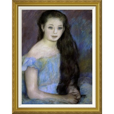 'Young Girl With Dark Brown Hair' by Pierre-Auguste Renoir Framed Painting Print Size: 36
