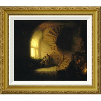 "'Philosopher in Meditation' by Rembrandt Van Rijn Framed Painting Print Size: 19.2"" H x 22"" W x 1.5"" D"