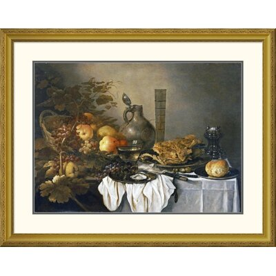 'A Still Life With a Roemer, Oysters, a Roll and Meat' by Pieter Claesz Framed Painting Print DPF-264730-22-109