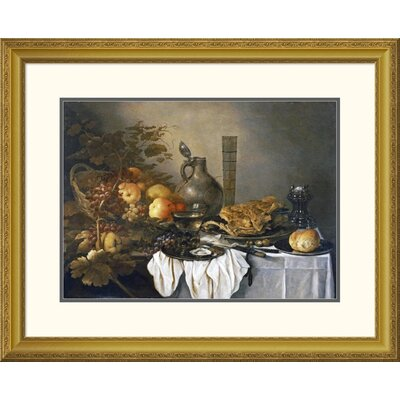 'A Still Life With a Roemer, Oysters, a Roll and Meat' by Pieter Claesz Framed Painting Print DPF-264730-30-109