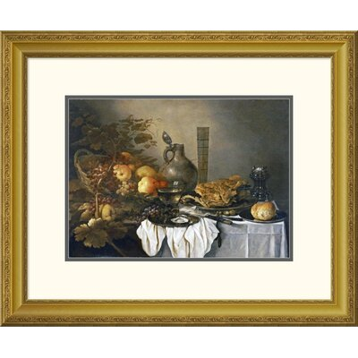 'A Still Life With a Roemer, Oysters, a Roll and Meat' by Pieter Claesz Framed Painting Print DPF-264730-16-109