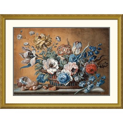 'A Basket of Carnations' by Peter Mazell Framed Painting Print Size: 25.54