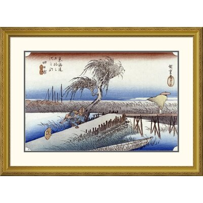 'Mie River Near Yokkaichi' by Hiroshige Framed Graphic Art Size: 24.19