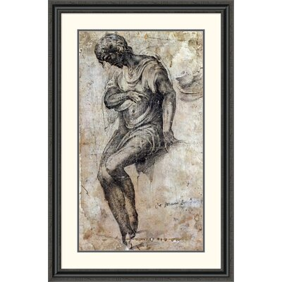 'A Man Seated on a Ledge' by Alonso Berruguete Framed Painting Print DPF-264603-36-153