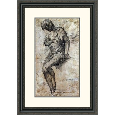 'A Man Seated on a Ledge' by Alonso Berruguete Framed Painting Print DPF-264603-22-153