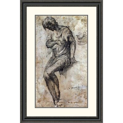 'A Man Seated on a Ledge' by Alonso Berruguete Framed Painting Print DPF-264603-30-153