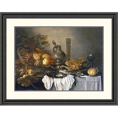 'A Still Life with a Roemer, Oysters, a Roll and Meat' by Pieter Claesz Framed Painting Print DPF-264730-30-153