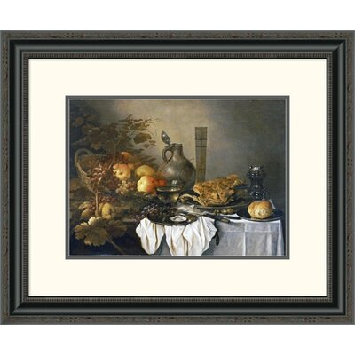 'A Still Life with a Roemer, Oysters, a Roll and Meat' by Pieter Claesz Framed Painting Print DPF-264730-16-153