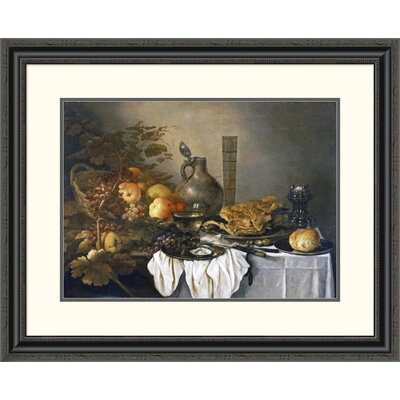 'A Still Life with a Roemer, Oysters, a Roll and Meat' by Pieter Claesz Framed Painting Print DPF-264730-22-153