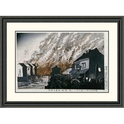 'A Great Fire on the Night of February 11, 1881' by Kobayashi Kiyochika Framed Painting Print Size: 29.62