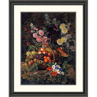 'A Still Life of Flowers and a Basket of Fruit' by Johan Laurents Jensen Framed Painting Print Size: 40