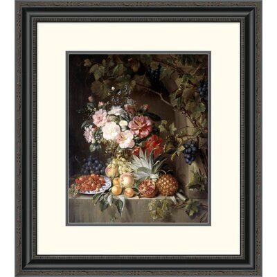 'Still Life with a Basket of Flowers' by Antonie Rietveld Framed Painting Print Size: 26