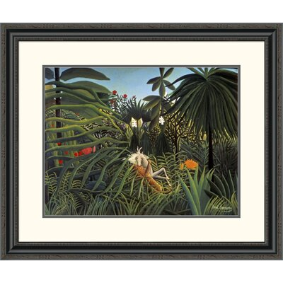 'Jaguar Attacking a Horse' by Henri Rousseau Framed Painting Print Size: 26.85