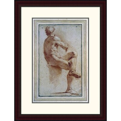 'A Male Nude Seated with His Back Turned' by Annibale Carracci Framed Painting Print DPF-264675-22-289