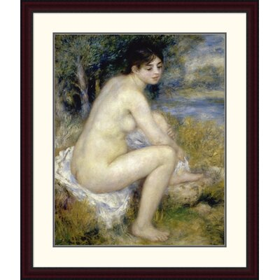 "'Nude Woman Seated in a Landscape' by Pierre-Auguste Renoir Framed Painting Print Size: 38"" H x 32.17"" W x 1.5"" D DPF-279659-30-289"
