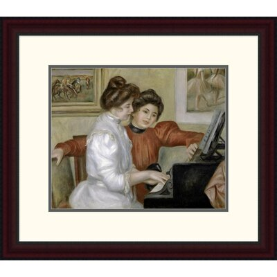 'Yvonne and Christine Lerolle at the Piano, 1897-1898' by Pierre-Auguste Renoir Framed Painting Print Size: 20.93