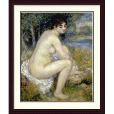 "'Nude Woman Seated in a Landscape' by Pierre-Auguste Renoir Framed Painting Print Size: 44"" H x 37.01"" W x 1.5"" D DPF-279659-36-289"