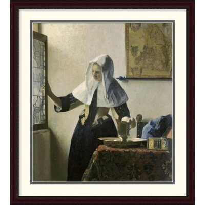 'Woman with a Water Jug' by Johannes Vermeer Framed Painting Print Size: 44