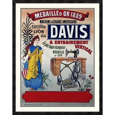 'Davis, Machine a Coudre Americaine' Framed Vintage Advertisement Size: 42