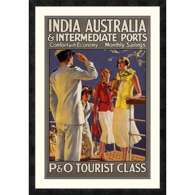 "'India Australia and Intermediate Ports / P and O' by Michael Framed Vintage Advertisement Size: 36"" H x 25.25"" W x 1.5"" D DPF-295869-30-119"