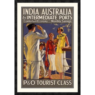 "'India Australia and Intermediate Ports / P and O' by Michael Framed Vintage Advertisement Size: 42"" H x 29.1"" W x 1.5"" D DPF-295869-36-119"