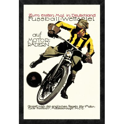 'Soccer on Motorcycle' Framed Vintage Advertisement GCF-382191-2030-299