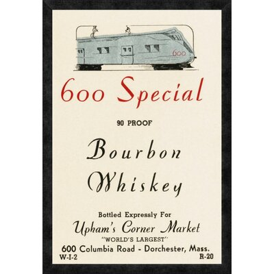 '600 Special Bourbon Whiskey' Framed Vintage Advertisement Size: 32