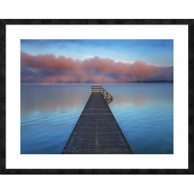 Boat ramp and fog bench, Bavaria, Germany' by Frank Krahmer Framed Graphic Art DPF-463584-2432-257