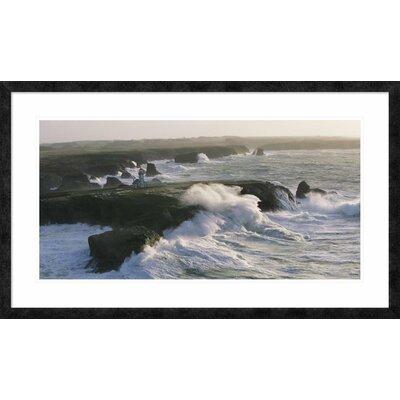 """'Phare des Poulains lors d'une Tempete' by Jean Guichard Framed Graphic Art Size: 26"""" H x 44"""" W x 1.5"""" D DPF-378979-1836-257"""