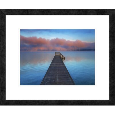 Boat ramp and fog bench, Bavaria, Germany' by Frank Krahmer Framed Graphic Art DPF-463584-1216-257