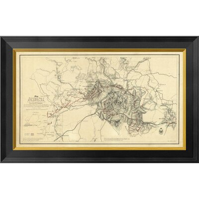 Civil War Map Illustrating the Siege of Atlanta, Georgia, 1864 by Orlando M. Poe Framed Graphic Art on Canvas GCF-295204-22-131