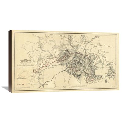 Civil War Map Illustrating the Siege of Atlanta, Georgia, 1864 by Orlando M. Poe Graphic Art on Wrapped Canvas GCS-295204-30-144