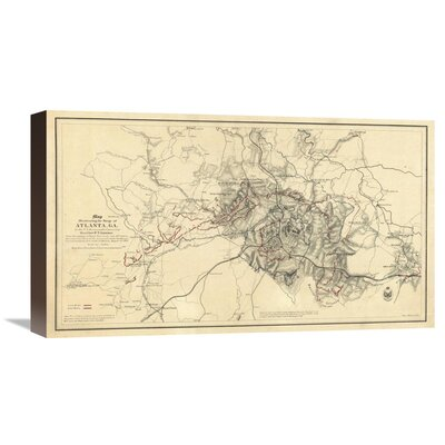 Civil War Map Illustrating the Siege of Atlanta, Georgia, 1864 by Orlando M. Poe Graphic Art on Wrapped Canvas GCS-295204-22-144