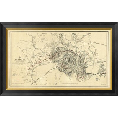 Civil War Map Illustrating the Siege of Atlanta, Georgia, 1864 by Orlando M. Poe Framed Graphic Art on Canvas GCF-295204-30-131