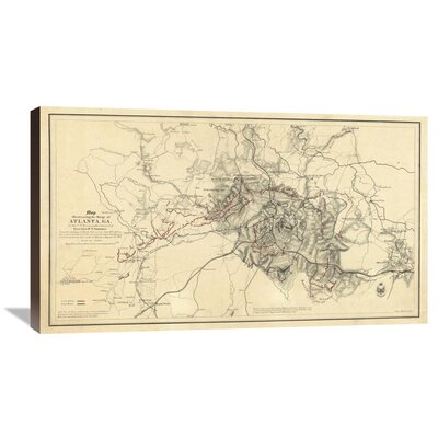 Civil War Map Illustrating the Siege of Atlanta, Georgia, 1864 by Orlando M. Poe Graphic Art on Wrapped Canvas GCS-295204-36-144