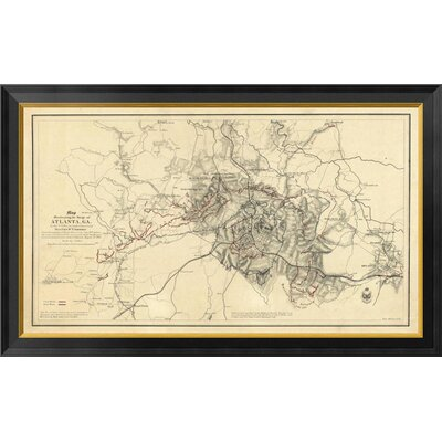 Civil War Map Illustrating the Siege of Atlanta, Georgia, 1864 by Orlando M. Poe Framed Graphic Art on Canvas GCF-295204-36-131
