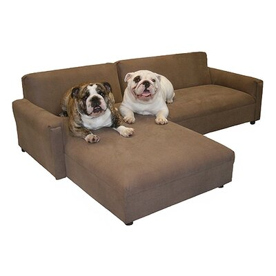 BioMedic Pet Modular Sectional Dog Sofa Fabric: Faux Leather - Charcoal