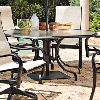 64 Hexagonal Glass Top Dining Height Table Finish: Textured Kona