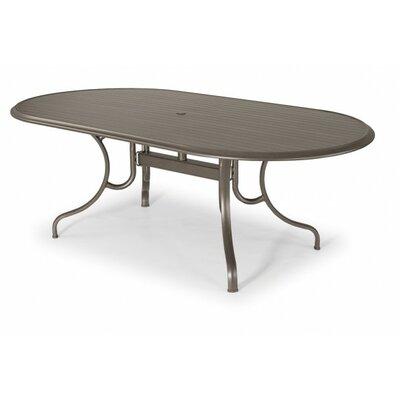 Aluminum Slat Oval Dining Table