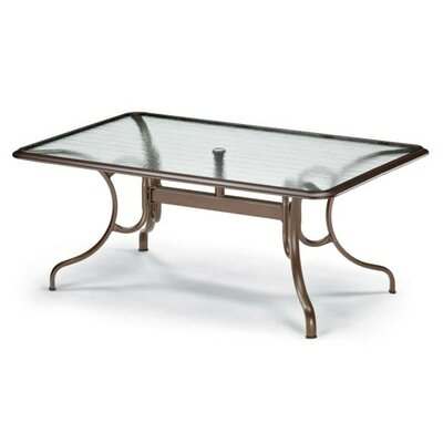 Glass Top Deluxe Rectangle Ogee Rim Dining Table Finish: Textured Graphite