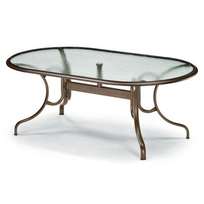 Glass Top Deluxe Oval Ogee Rim Dining Table Finish: Textured Aged Bronze