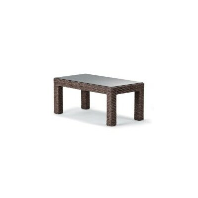 La Vie Coffee Table Base Finish: Driftwood Wicker, Top Finish: Champagne