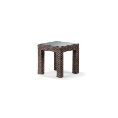La Vie Side Table (Set of 2) Base Finish: Driftwood Wicker, Top Finish: Crimson